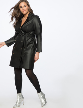 Faux Leather Trench Dress by Eloquii