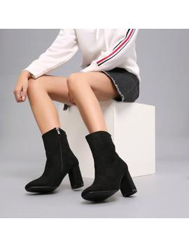 Classic Square Toe Ankle Boot In Black Suede by Koi Footwear