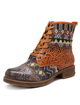 Socofy Cowgirl Splicing Pattern Genuine Leather Zipper Lace Up Comfortable Flat Boots by Newchic