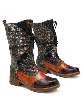 Socofy Cowgirl Retro Pattern Lace Up Genuine Leather Splicing Comfortable Flat Boots by Newchic