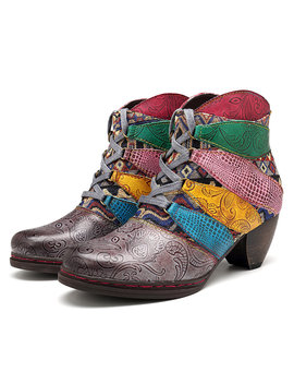 Socofy Cowgirl Genuine Leather Color Match Stripe Lace Up Zipper Comfortable Boots by Newchic