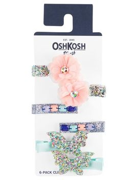 6 Pack Glitter Hair Clips by Oshkosh