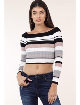 Striped Long Sleeve Knit Top by Papaya