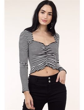 Striped Front Ruched Top by Papaya