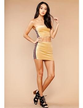 Faux Suede Side Line Mini Skirt by Papaya