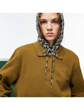 Women's Lacoste Fashion Show 2 In 1 Fleece And Check Poplin Polo by Lacoste