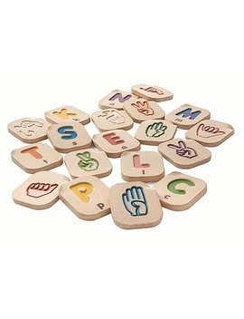"Plan Toys® Hand Sign Alphabet A Z, 2 1/2"" X 3"" X 1/2"" (5672) by Plan Toys®"