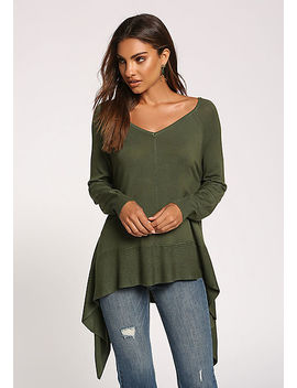 Olive Side Pointed Sweater Top by Love Culture