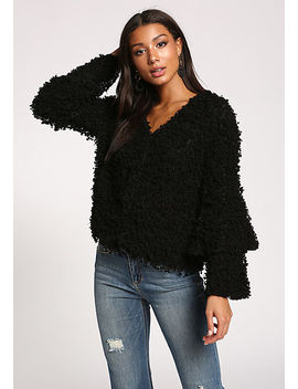 Black Tiered Bell Sleeve Shaggy Jacket by Love Culture