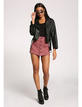 Mauve Button Down High Rise Skort by Love Culture