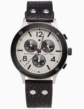 Rockpoint Multi Function Black Leather Watch, 42 Mm by Lucky Brand