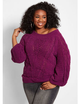 Chenille Cable Knit Sweater by Ashley Stewart