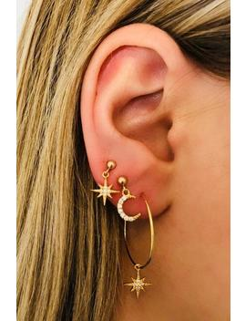 Star Moon Rhinestones Earrings Set by Lupsona