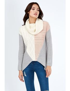 Cable Patchwork Dippy Hem Jumper by Select