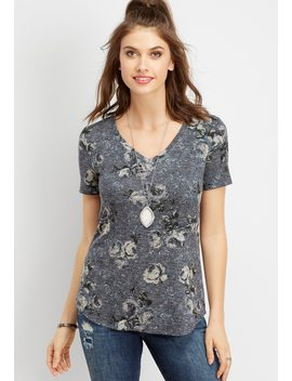 24/7 Floral Print V Neck Tee by Maurices