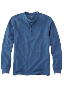 Unshrinkable Mini Waffle Henley, Long Sleeve Slim Fit by L.L.Bean