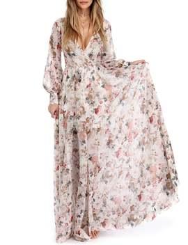 Floral Floor Length Surplice Bohemian Dress by Gamiss