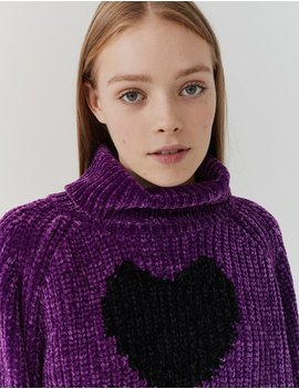 Lazy Oaf Black Heart Roll Neck Jumper by Lazy Oaf