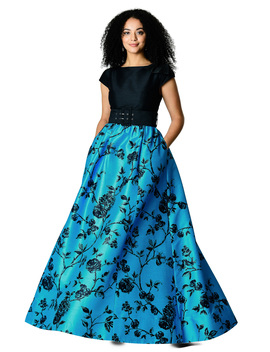Climbing Rose Print Dupioni Belted Maxi Dress by Eshakti