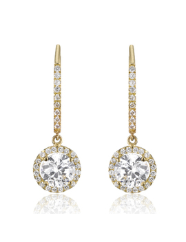 9ct Gold Cubic Zirconia Drop Earrings by Beaverbrooks
