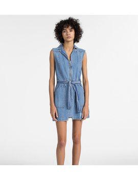 Denim Zip Up Belted Dress by Calvin Klein Jeans