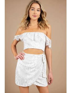 Carly White Off Shoulder Wrap Dress by Tobi