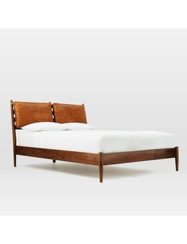Arne Bed + Leather Cushions by West Elm