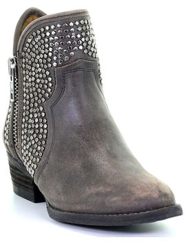 Circle G Women's Zipper And Studded Booties   Round Toe by Circleg