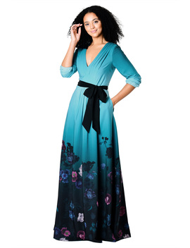 Pleated Floral Ombre Print Crepe Maxi Dress by Eshakti