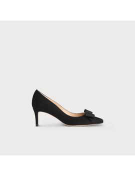 Saskia Black Suede Bow Heel by L.K.Bennett