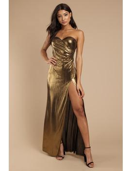 So Long Gold Side Slit Maxi Dress by Tobi