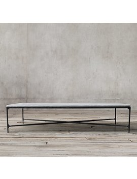 Thaddeus Forged Iron & Marble Rectangular Coffee Table by Restoration Hardware