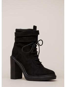 Sock It To Me Strappy Chunky Booties by Go Jane