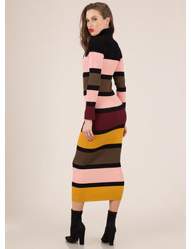 Striped Statement Turtleneck Maxi by Go Jane