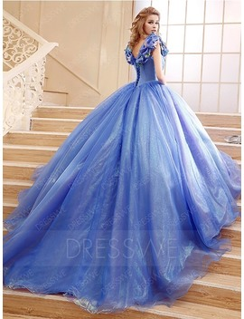 Hot Sale Flower Cinderella Princess Lace Up Ball Gown by Dress We
