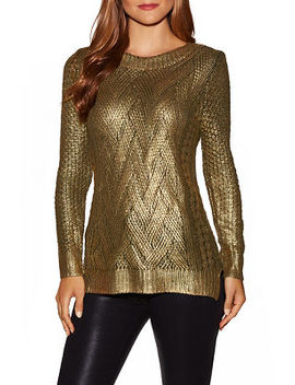 Gold Foiled Crew Neck Sweater by Boston Proper