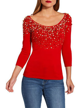 Embellished Neckline Scoop Neck Sweater by Boston Proper