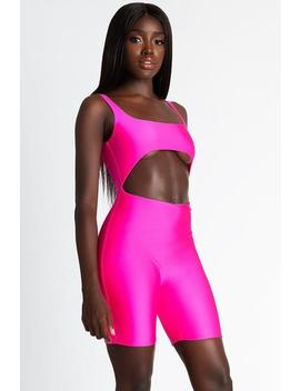 Nyla Cut Out Playsuit   Neon Pink by Meshki