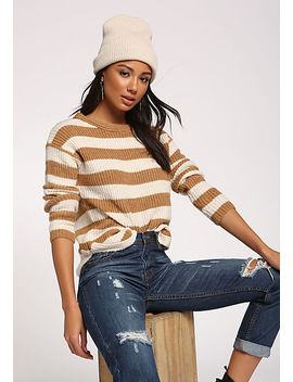 Camel Stripe Pullover Sweater Top by Love Culture