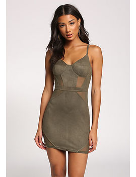 Olive Faux Suede Mesh Panel Bodycon Dress by Love Culture