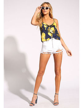 Navy Lemon Tie Front Tank Top by Love Culture