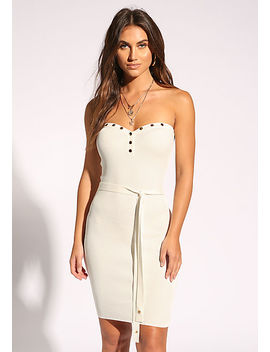 Ivory Button Trim Waist Tie Bodycon Dress by Love Culture