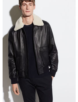Leather Aviator Jacket by Vince
