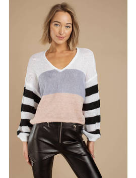 See Me Again White Stripe Cropped Sweater by Tobi