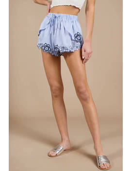 Isabelle Blue Embroidered Floral Shorts by Tobi