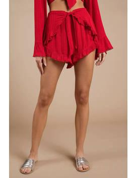 Raven Red Ruffle Shorts by Tobi