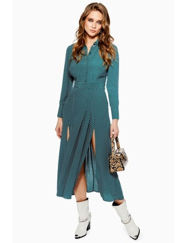 Spot Pleated Shirt Dress by Topshop