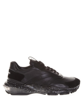 Bounce Black Suede & Leather Sneakers by Valentino