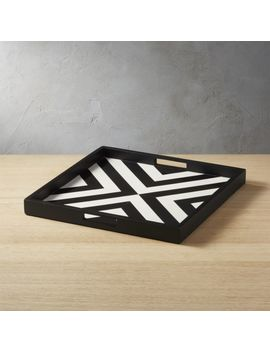 Inlay Black And White Serving Tray by Crate&Barrel