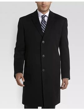 Joseph Abboud White Label 100% Cashmere Modern Fit Topcoat, Black by Mens Wearhouse